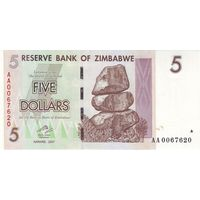 Зимбабве 5 долларов 2007 UNC