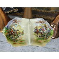 Красивая большая тарелка подача менажница охота Фарфор Клеймо Роспись
