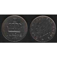 Норвегия km419 1 крона 1985 год (K) (f50)nr0(ks00)