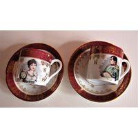 Napoleon  & Josephin старинная кофейная пара для влюблённых. Франфия.Тончайший фарфор, ручная роспись.