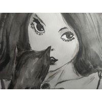 "Картина ""Девушка с кошкой"""