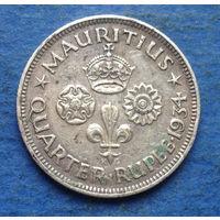 Маврикий Британская колония 1/4 рупии 1934 Георг V Редкость