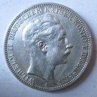 Германия. 3 марки 1912. Пруссия. Серебро. 434