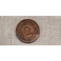 Маврикий 2 цента 1953  /первый год Елизаветы/(DY)