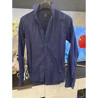 Рубашка мужская темно синяя Oodji на стройного парня