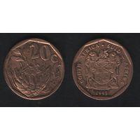 Южная Африка (ЮАР) km136 20 центов 1993 год (b06)