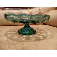 Фруктовница ваза цветное стекло 50 х годов