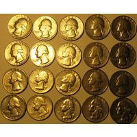 25 центов (квотер) 1965-98 США Список внутри.