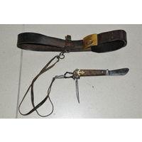 Советский боцманский  нож с  крепёжным  ремешком на оригинальном карабинчике как на  ремень  так  и на шею.