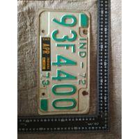 Винтажный американский автомобильный регистрационный номерной знак штат Индиана США 1973 год . Дизайн, декор, интерьер, коллекционирование, обмен.