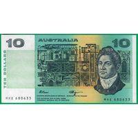 Австралия 10 долларов образца 1973 года. Вариант подписей 1. Состояние UNC. Нечастая!