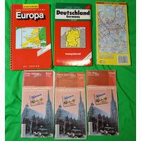 Карта автодорог. Европа, Германия, Хельсинки, Вена.