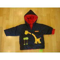 Куртка НОВАЯ детская демисезонная с капюшоном двухсторонняя, размер 12 - 24 месяца.