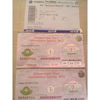 2 билета с матча Беларусь-Люксембург-2012 + Динамо Минск-Шахтер Солигорск-2013
