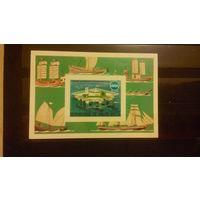 Транспорт, корабли, парусники, флот, техника, марки, Буркина-Фасо, блок, 1975, б/з