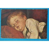 Спящий мальчик. Старинная немецкая открытка. Подписана.