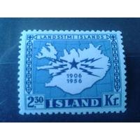 Исландия 1956 карта