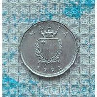 Мальта 2 цента 1991 года. Оливки. АU. Инвестируй выгодно в монеты планеты!
