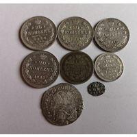 Лот серебра с рубля без МЦ! Империя + 6 грошей Пруссия 1754