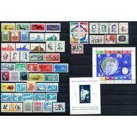 ГДР - 1962г. - Полный годовой набор - MNH, две марки с отпечатками, одна сцепка с потр. клеем, одна сцепка с царапиной, один блок с немного погнутыми уголками [Mi 869-933] - 48 марок, 3 сцепки, 2 блок