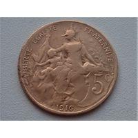 Франция 5 сантимов 1916 звезда