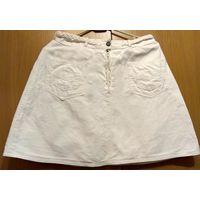 Юбка белая джинсовая мини, длина 44 см