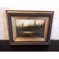 Живопись 19 век, царская россия, рама золочение 31х24см, картина картон масло 21х15см. торг