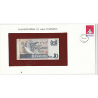 Сингапур 1 доллар 1976 года. В специальном буклете с маркой. Состояние UNC!