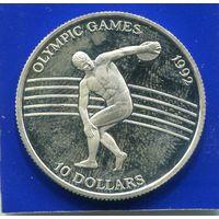 Ниуэ 10 долларов 1991 , Олимпийские Игры 1992 в Барселоне , серебро , UNC