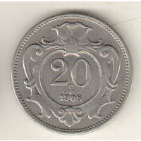 Австрия 20 геллер 1908