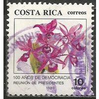 Коста-Рика. 100 лет Демократии. Орхидеи. 1989г. Mi#1367.