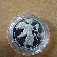 1000 лир Сан Марино 1990 ЧМ ФУТБОЛ