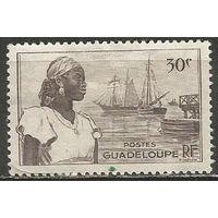 Гваделупа. Островитянка. Гавань. 1947г. Mi#215.