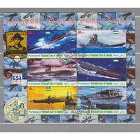 Корабли военные боевые авиация самолеты Флот техника скауты Сомали 2010 г блок лист