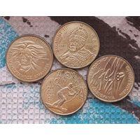 """Польша монеты 1998 года, 2 злотых. Адам Мицкевич, Сигизмунт Ваза, """"80 лет Независимости Польши"""", Олимпиада в Нагано."""