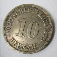 Германия. 10 пфеннигов 1908 A . 1-56