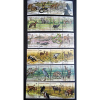 Бурунди 1977 г. Животные Африки. Фауна. 6 сцепок по 4 марки #0107-Ф1