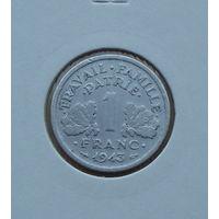 Франция, 1 франк 1943 г., алюминий, правительство Виши, в холдере