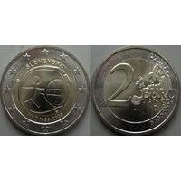 Словакия, 2 евро 2009 10 лет экономическому и  валютному союзу. UNC.