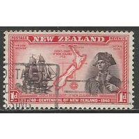 Новая Зеландия. Д.Кук и его корабль. Карта. 1940г. Mi#254.