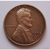 """США  цент 1952г.  (""""D"""")"""