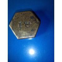 Старинная гирька латунная, аптечная,шестигранная.Конец XIX века.Вес 40 грамм.