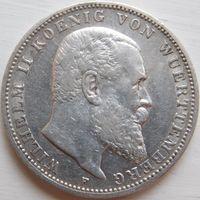 25. Германия, Вюртемберг 3 марки 1909 год, серебро.