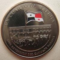 Панама 1/4 бальбоа 2016 г. 100 лет строительству Панамского канала. Возвращение под контроль Панамы 1999