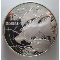 Андорра 10 динер 1996. Корабль. Серебро (260)