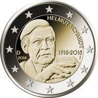 2 евро 2018 Германия J Гельмут Шмидт UNC из ролла
