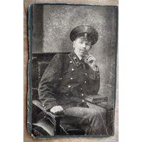 Фото железнодорожника в форменном обмундировании. До 1917 г. 10х15 см