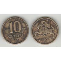 Литва km106 10 центов 1997 год (посл.год)(тип A) (h03)