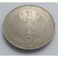 "Германия, 2 марки, 1958 год ""Макс Планк"""