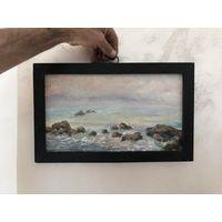 Старинная картина Акварель размер 39 на 24 см